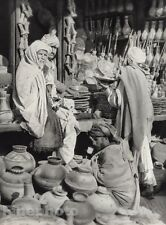 1928 Original INDIA Peshawar Bazaar Male Pottery Market Photo Art By HURLIMANN