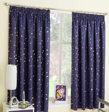 MOONLIGHT & STARS Lined Ready Made Curtains - Children Kids Teenagers NAVY 46x54
