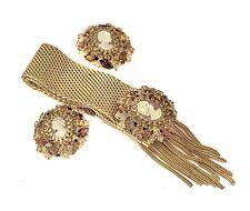 MIDCENTURY HOBE' CAMEO RHINESTONES GOLD PLATED FRINGED SLIDE BRACELET & EARRINGS
