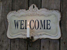 Beige Metal Wall Welcome Plaque Sign Shabby Chic Vintage Style Candle