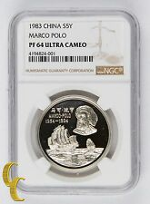 1983 China S5Y Marco Polo, PF 64 UC Graded by NGC, Silver Coin KM# 77