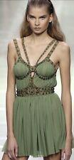 Alexander McQueen '05 Predeath Green Dress W Fanciful Green Jeweled Harness 44