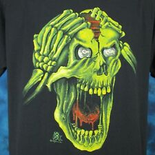 vintage 80s ZOMBIE SKELETON BRAIN PAPER THIN T-Shirt M/L horror cartoon punk NOS