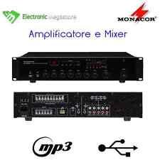 MONACOR 100 V linea 5 zone 120W MIXER PA AMPLIFICATORE USB INTEGRATO LETTORE MP3
