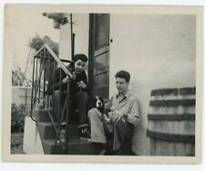 Vintage 1940's DOG photo / Pup Sez Stay Away from Kyle w Hi-Top SNEAKERS & Rifle