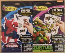 2 Colorforms Fun Pack Sticker Sets  1-Spiderman 1-Teenage Mutant Ninja Turtles