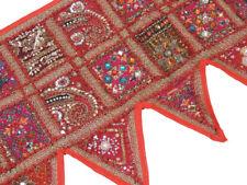 """Red Patchwork Window Valance Door Topper - Kundan Vintage Handmade Toran 60"""""""