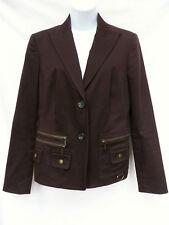 MICHAEL KORS Womens Dark Brown Zipper Pockets Safari Blazer Jacket Coat 6 M