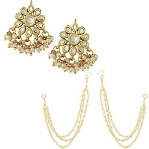 Non-precious Metal & Enamel Gold Plated and Pearl Earrings for Women a349