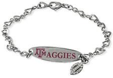 TEXAS A&M UNIVERSITY AGGIES * Stainless Steel ID Bracelet w/CZ  New NCAA Jewelry