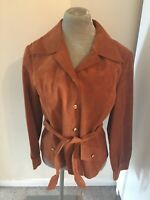 Vintage MARELLA suede look rust brown belted jacket - Size 16