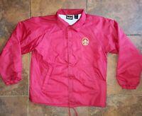 Vintage Red BSA Boy Scouts of America Leader Jacket Patch Sz L Large Coat Snap