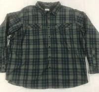 Columbia Men's Omni Shade Blue Green Plaid L/S Button Shirt Sz 4X Vented EUC