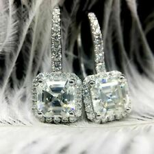 4.50Ct Asscher Cut VVS1/D Diamond Drop & Dangle Earrings 14K White Gold Finish