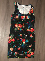 Ambiance Apparel Womens Size Medium Black Floral Mini Dress