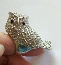 Huge Unusual Vintage Rhinestone OWL Ring