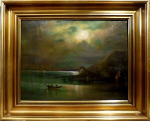 UNSIGNED! SEASCAPE IN MOONLIGHT WITH 2 MEN IN A BOAT