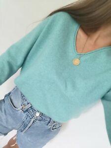 Lochmere 100% Pure Cashmere Jumper Sweater Knit Size L M S 8 10 12 Blue