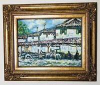 Oil On Canvas Impressionist Painting Stables 20x24 Gilt Gesso Frame Signed Orig