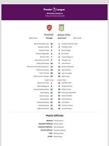 Arsenal v Aston Villa 22nd October 2021 Teamsheet