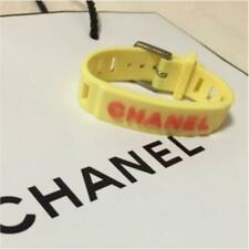 CHANEL Rubber Bracelet Logo Green  Used