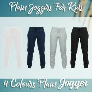 Boys Girls Kids Plain Joggers School Sports Jogging Bottoms Warm Basic Trousers