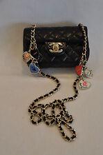 CHANEL Mini Quilted Black Ltd Edition Valentine Charm Bag