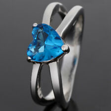 Lady Fashion Jewelry New Heart Cut 18K White Gold Plated Aquamarine Ring 6