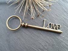 Antique Bronze LOVE Key Charms 2pcs Design 11 Steampunk Vintage Pendants Kitsch