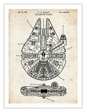 """STAR WARS MILLENNIUM FALCON POSTER 1979 PATENT PRINT 18X24"""" THE FORCE ART GIFT"""