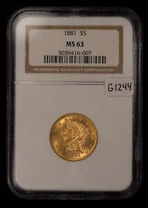 1881 G$5 Liberty Head Gold Half Eagle - Strong Luster - NGC MS 63 - SKU-G1244