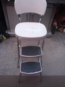 Vintage Cosco Light pink Chrome Kitchen Step Stool, Chair Sliding Steps