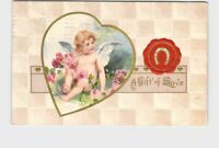 ANTIQUE POSTCARD VALENTINE CUPID WITH LAP FULL OF ROSES HORSESHOE WAX SEAL EMBOS