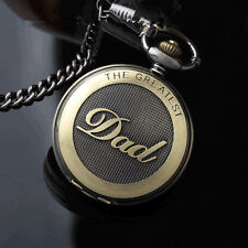 Vintage Bronze THE GREATEST DAD Pocket Watch FOB Chain Necklace Grandpa DAD Gift