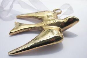 "SEAGULL Bird Ornament Gleaming Chunky Brass or Gold Tone Metal 4"" x 3-1/8"""