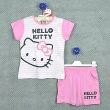 ¤ HELLO KITTY ¤ Ensemble été rose ==> T- shirt rayé & Short ~ 8 ANS ~ NEUF