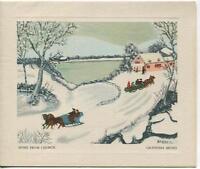 VINTAGE CHRISTMAS CHURCH HORSE SLED WINTER FOLK ART GRANDMA MOSES GREETING CARD