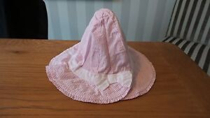 John Lewis Baby 3-6, 12-24 Months Pink Striped Bucket 100% Cotton Hat New RRP £8