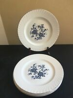 "SET OF 4 Enoch Wedgwood (Tunstall) ROYAL BLUE Ironstone 10"" Dinner Plates"