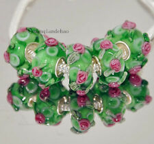 5pcs MURANO Lampwork charm Beads fit 925 silver European Bracelet Chain a64