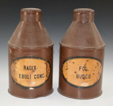 2 x Gefäße aus Blech RADIX EBULI CONC. + FOL. BUCCO wohl um 1920