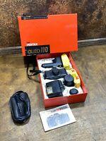 Vintage PENTAX AUTO 110 Camera 3 LENS KIT WINDER FLASH & FILM in Original BOX