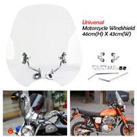Universal 7/8'' 1'' Handlebars Motorcycle Windshield Windscreen For Harley Honda