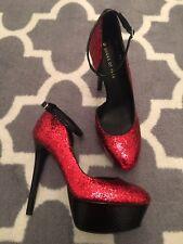 d68c0b90248b Shoes Of Prey Red Glitter Platform Stilleto Heels size 13 round toe ankle  strap