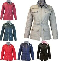 Womens Barber MA1 Belted Padded Diamond Quilted Jacket Ladies Detail Pocket Coat