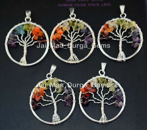 Pcs Lot 7 Chakra Stone Beads Tree Of Life Silver Plated Necklace Pendnats EXP24
