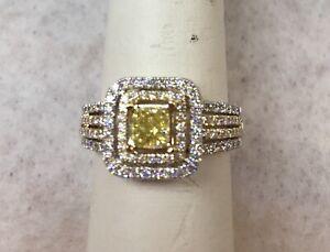 Princess Cut Canary Diamond Engagement ring size 8.5