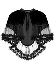 Dark In Love Gothic Hooded Cape Black Velvet Shrug Shawl VTG Victorian Steampunk