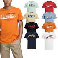 Jack & Jones Men's Logo T-Shirts Cotton Slim Fit Crew Neck Classic Men Tee Top