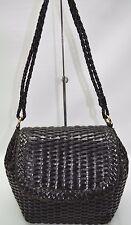 CEM C.E.M. Brazil Made Black Genuine Leather Woven Weave Braided Flap Bag